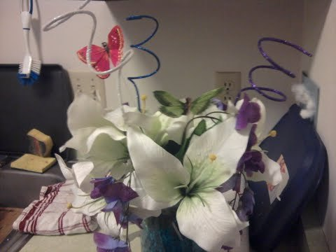 Reception, Flowers & Decor, red, purple, blue, Centerpieces, Centerpiece, Lilies, Wisteria, Butterflies
