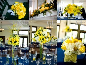 Reception, Flowers & Decor, yellow, blue, Flowers, Inspiration board