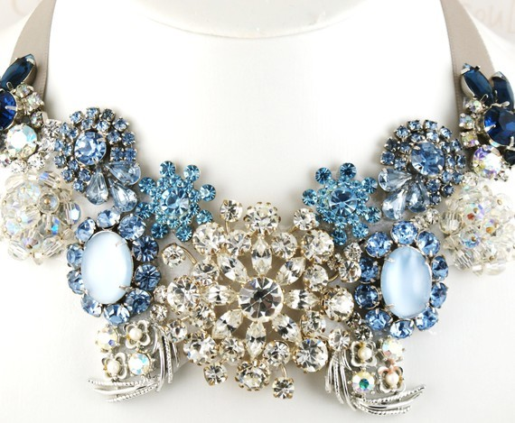 Jewelry, blue, Necklaces, Crystal, Necklace, Statement