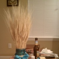 DIY, Reception, Flowers & Decor, yellow, blue, Centerpieces, Centerpiece, Wheat, Mason jar
