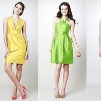 Bridesmaids, Bridesmaids Dresses, Wedding Dresses, Fashion, yellow, green, dress, Wedding, Lineup