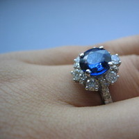 blue, Ring, Engagement, Sapphire, Diamonds