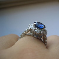 white, blue, gold, Ring, Engagement, Sapphire, Diamonds