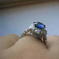 white, blue, gold, Ring, Engagement, Sapphire, Diamonds