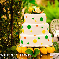Reception, Flowers & Decor, Cakes, white, yellow, green, cake
