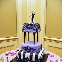 Reception, Flowers & Decor, Cakes, pink, black, cake