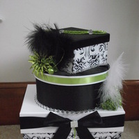Reception, Flowers & Decor, white, green, black, Box, Card, Damask