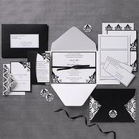 Stationery, white, black, Invitations, Damask, Invites