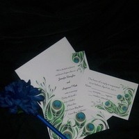 Ceremony, Flowers & Decor, Stationery, white, blue, green, black, silver, Invitations