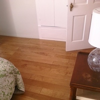 white, green, brown, Bedroom, Wood floors