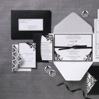 Stationery, white, black, Invitations