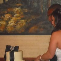 Reception, Flowers & Decor, Cakes, white, black, cake