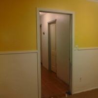 white, yellow, blue, brown, Wood floors, Home improvements, Yellow walls