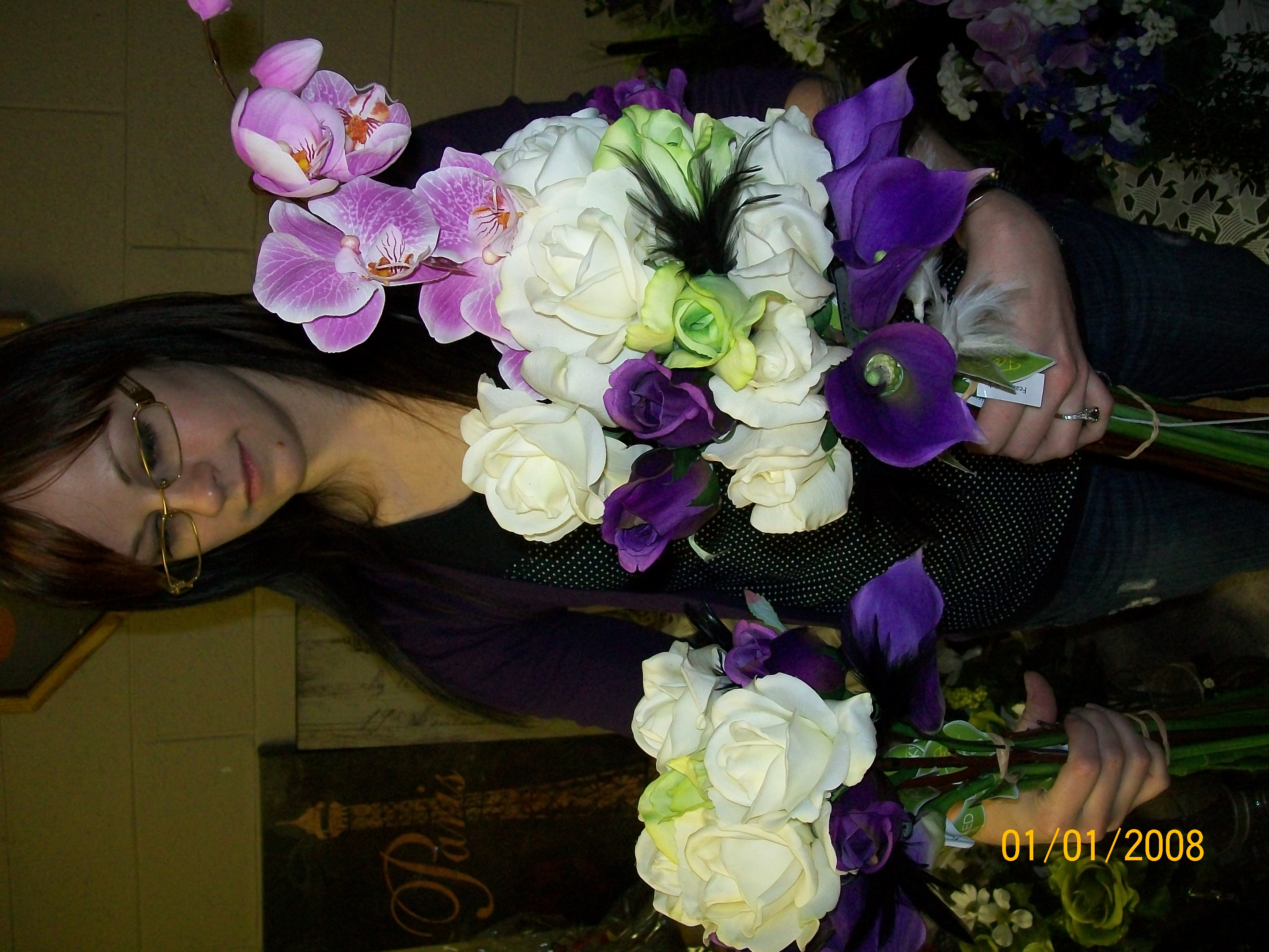 white, purple, green, black, Bouquets