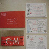 DIY, Stationery, white, red, brown, silver, Invitations, Lovebirds, Wedding invitations