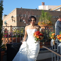 Beauty, Reception, Flowers & Decor, Jewelry, Wedding Dresses, Fashion, white, yellow, orange, red, blue, green, brown, silver, dress, Makeup, Flowers, Hair, Bride arriving to the reception, Flower Wedding Dresses