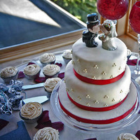 Reception, Flowers & Decor, Cakes, white, red, cake