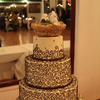 Reception, Flowers & Decor, Cakes, green, brown, cake, Cake topper, Camille nolan photography