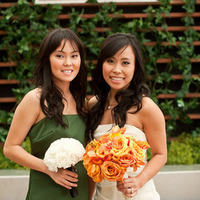 Beauty, Flowers & Decor, Jewelry, Bridesmaids, Bridesmaids Dresses, Wedding Dresses, Fashion, yellow, orange, green, gold, dress, Makeup, Bridesmaid Bouquets, Flowers, Hair, Asian, Inspiration board, Vera, Wang, Flower Wedding Dresses