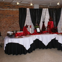 Reception, Flowers & Decor, red, black, Tables & Seating, Food, Tables