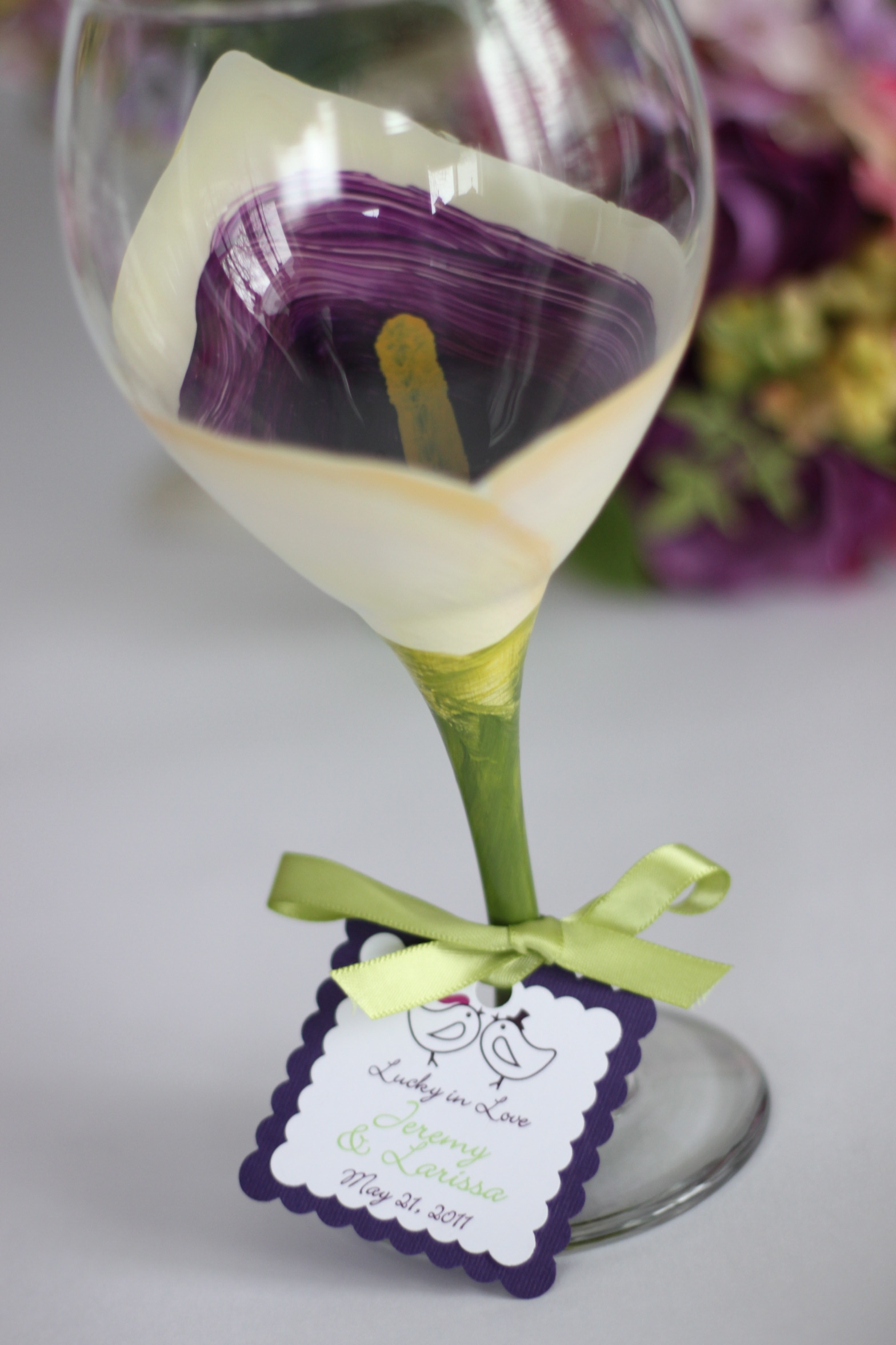 Reception, Flowers & Decor, Decor, Favors & Gifts, Bridesmaids, Bridesmaids Dresses, Fashion, purple, Favors, Glassware, Calla, Lilly, Inspiration board, Painted, Functional