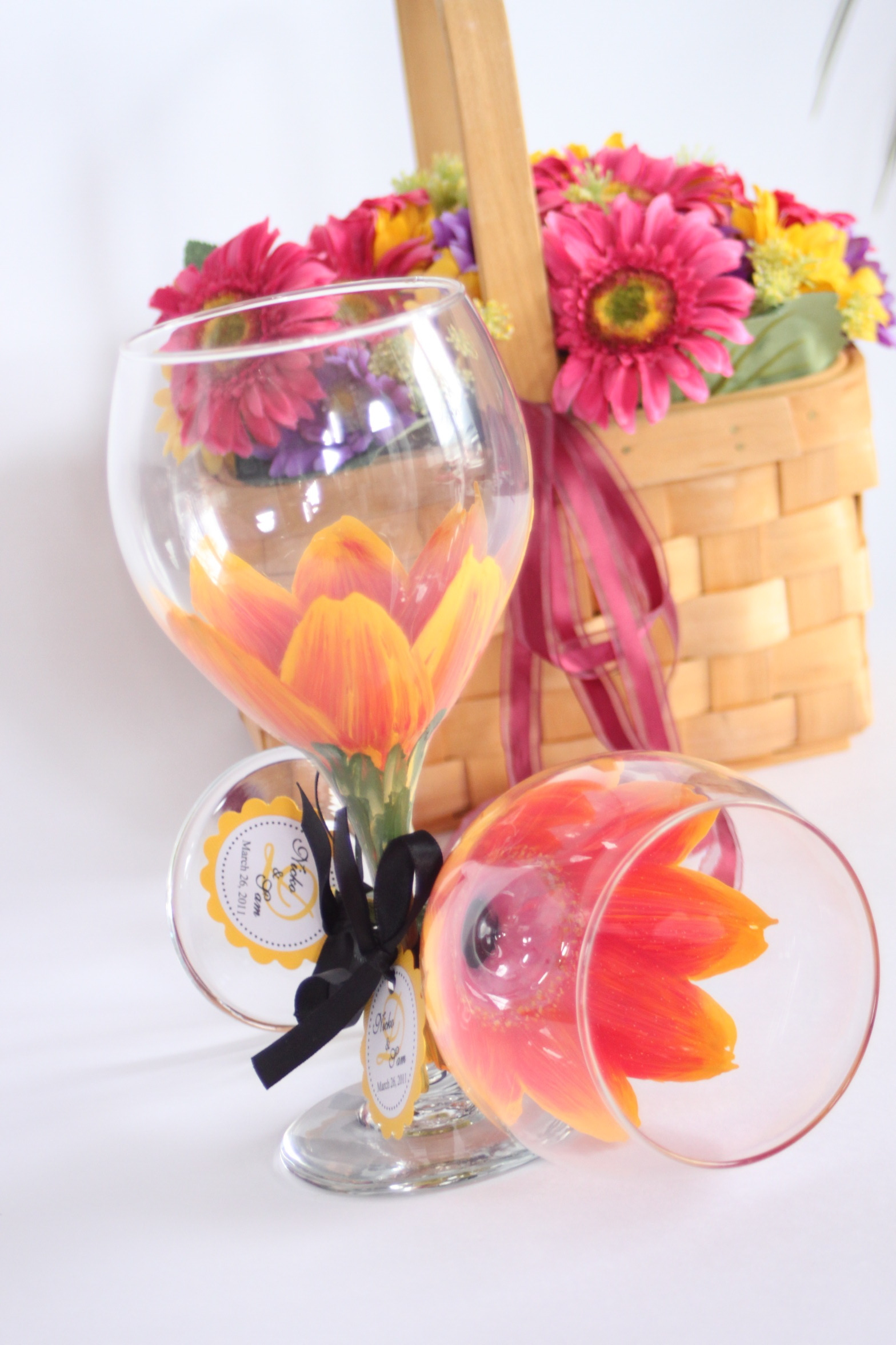 Reception, Flowers & Decor, Favors & Gifts, Bridesmaids, Bridesmaids Dresses, Fashion, orange, pink, gold, Favors, Flower, Unique, Inspiration board, Painted, Stemware, Functional