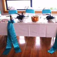 Beauty, Reception, Flowers & Decor, Decor, Feathers, Table, Turquoise, Peacock, Feather, Claytonandshauna