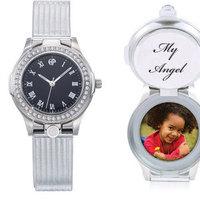 Jewelry, Bridesmaids, Bridesmaids Dresses, Fashion, black, silver, Locket, Personalized, Watch, Wristwatch