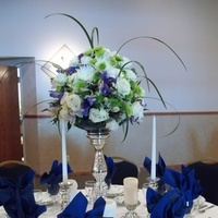 Reception, Flowers & Decor, white, blue, green, silver, Centerpieces, Centerpiece