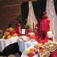 Reception, Flowers & Decor, red, black, Food, Table, Buffet, Decorations