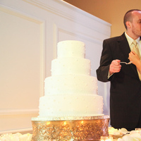 Reception, Flowers & Decor, Cakes, white, gold, cake, Cake cutting