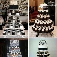 Cakes, white, black, cake, Cupcake