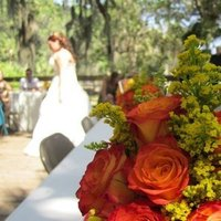 Reception, Flowers & Decor, Wedding Dresses, Fashion, orange, blue, green, dress, Flowers, Flower Wedding Dresses