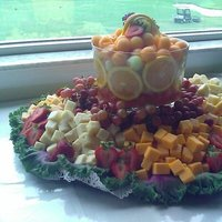 Reception, Flowers & Decor, Fruit, And, Cheese, Display
