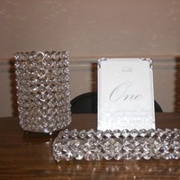 Reception, Flowers & Decor, Stationery, silver, Table Numbers, Table number, Bling, Tealight
