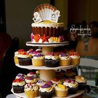 Favors & Gifts, Cakes, white, yellow, orange, pink, purple, brown, gold, cake, Favors, Cake topper