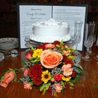 Reception, Flowers & Decor, Cakes, white, yellow, orange, red, cake, Flowers
