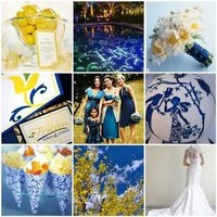 Ceremony, Reception, Flowers & Decor, Wedding Dresses, Cakes, Fashion, white, yellow, blue, cake, dress, Ceremony Flowers, Flowers, Inspiration board, Flower Wedding Dresses