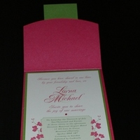 Stationery, pink, green, Invitations
