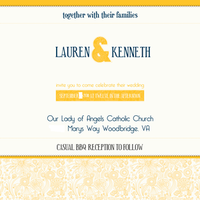 Ceremony, Reception, Flowers & Decor, Stationery, white, yellow, blue, Invitations