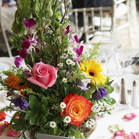 Reception, Flowers & Decor, yellow, blue, green, Centerpieces, Flowers, Centerpiece, Mixed, Ikebana