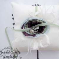 Ceremony, Flowers & Decor, white, blue, green, Ring, Pillow, Crystals, Twisted