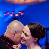 Reception, blue, Photography, Dance, First, Military, Maggie, Hollis, Cari, Marine, Corps, Shirley, Soterro, Flowers & Decor