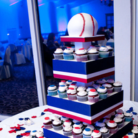 Reception, Flowers & Decor, Photography, Cakes, white, red, blue, cake, Sweet, Baseball, A, Design, Hollis, Cari