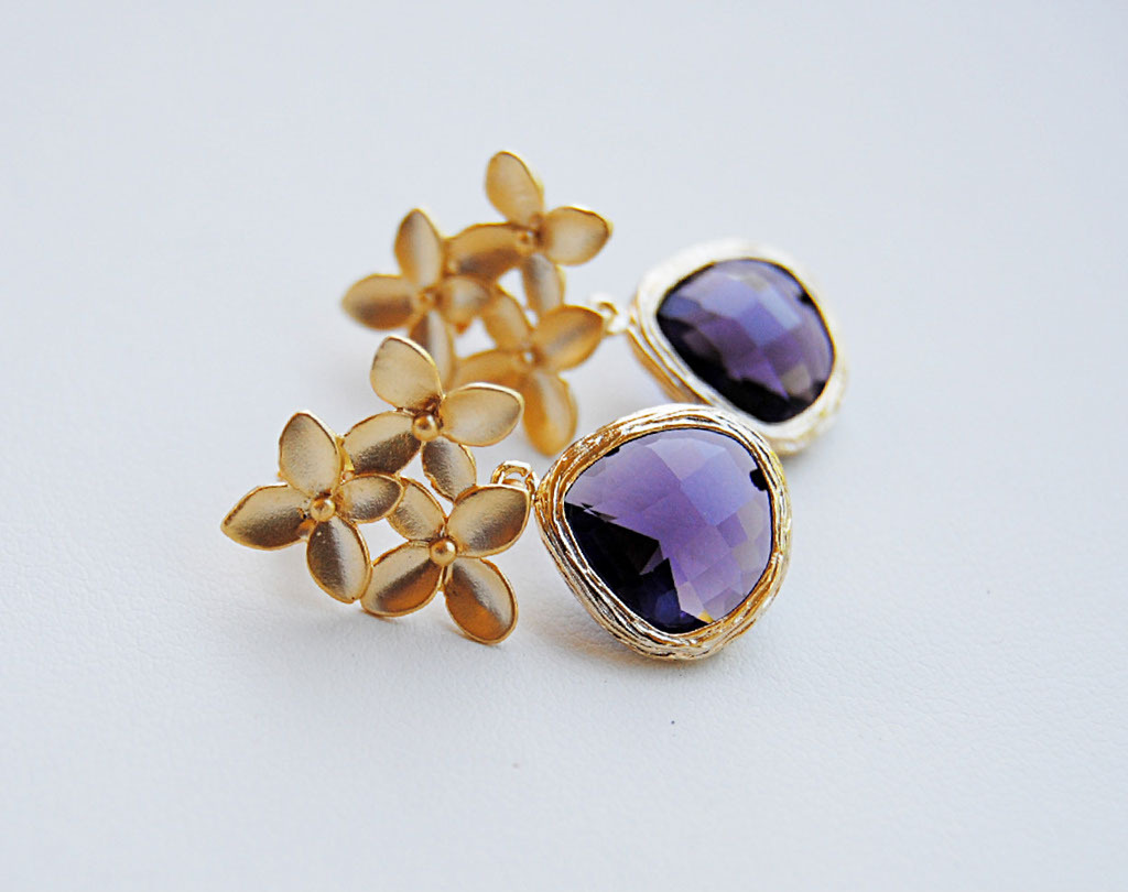 Jewelry, purple, gold, Earrings, Bridesmaid, Blustarfruit