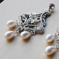 Jewelry, Earrings, Bridal, Crystal, Swarovski, Chandelier, Pearl, Blustarfruit