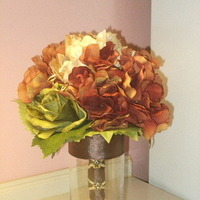 Flowers & Decor, orange, green, brown, gold, Flowers