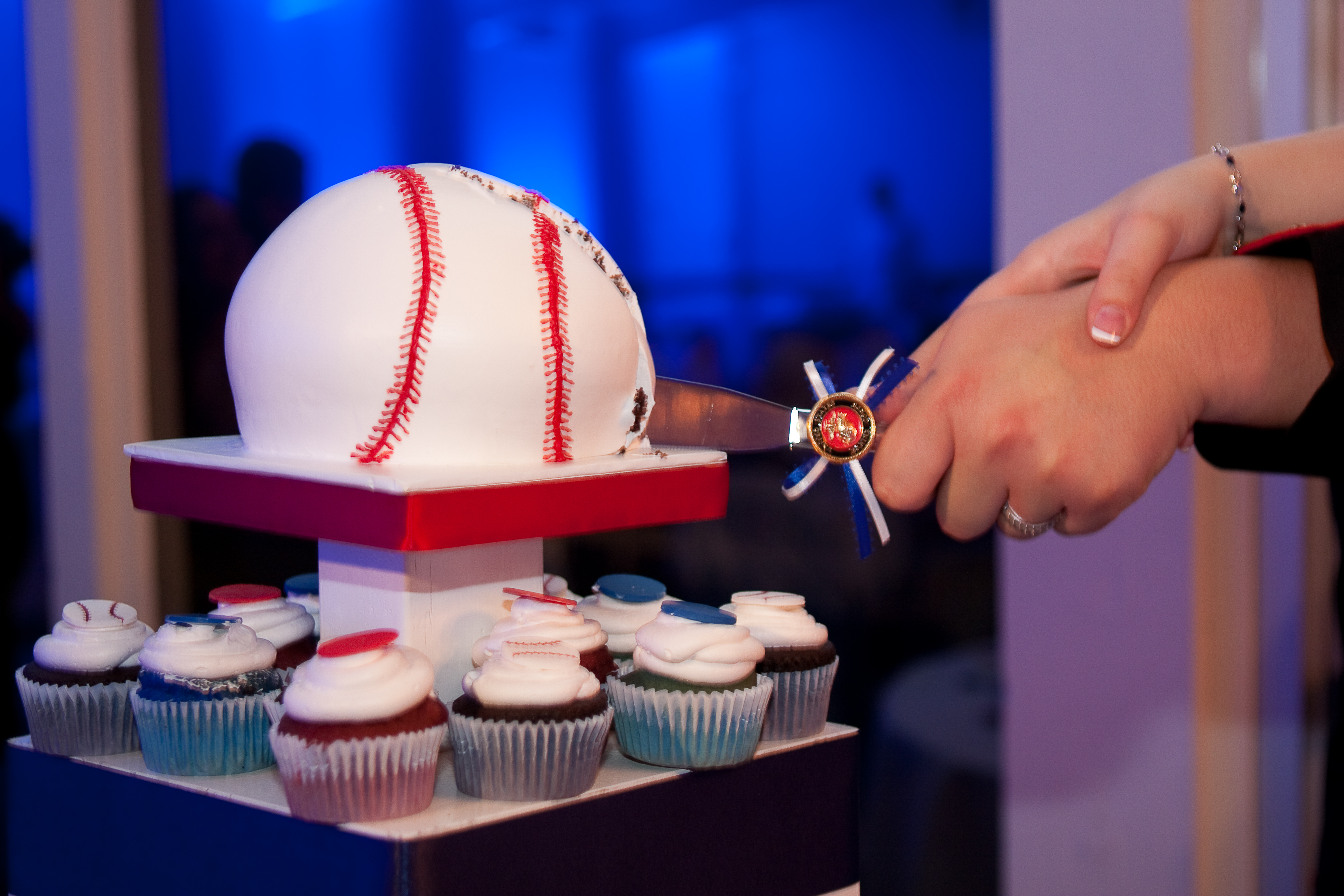 Reception, Flowers & Decor, Photography, Cakes, blue, cake, Baseball, Cutting, Hollis, Cari