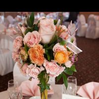 Reception, Flowers & Decor, orange, pink, silver, Flowers
