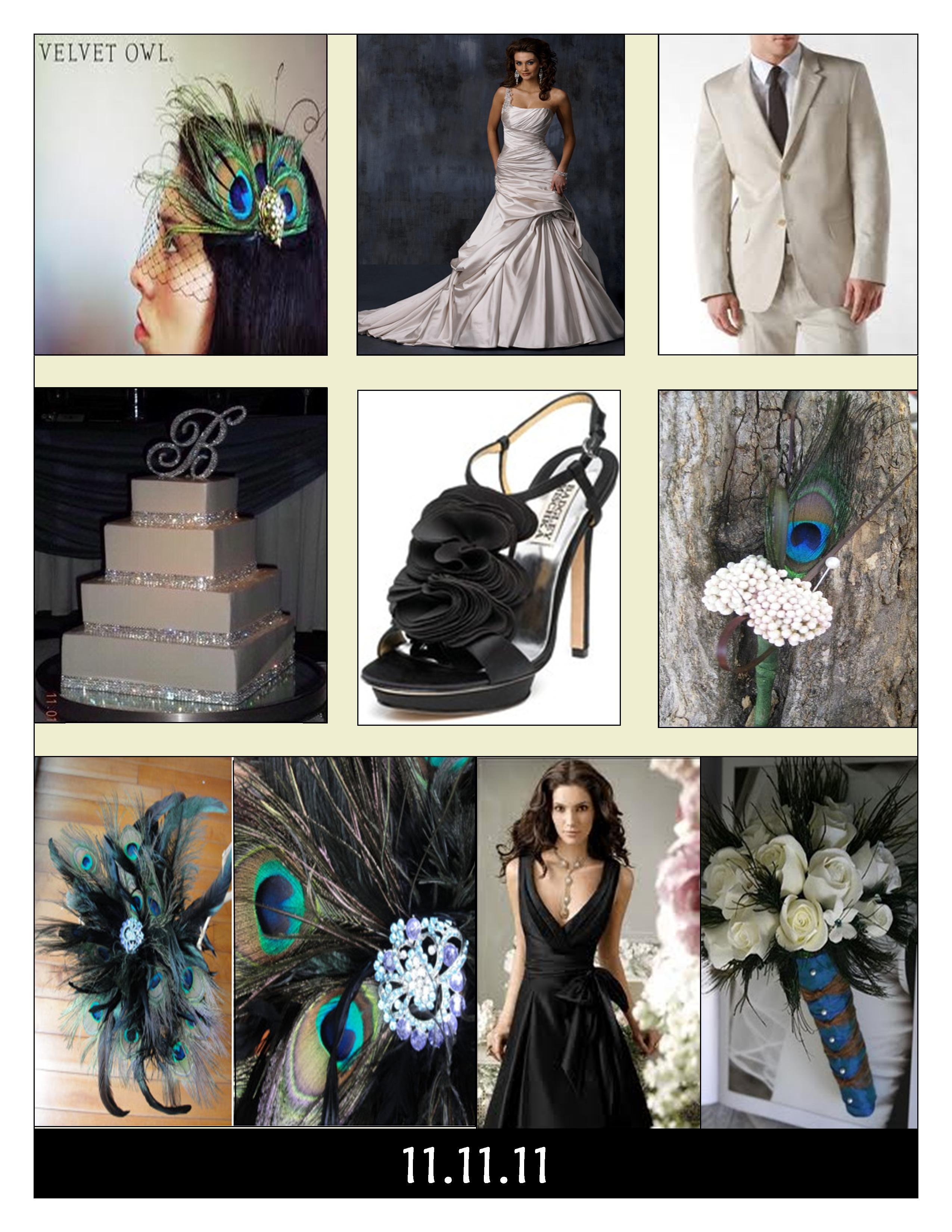 Beauty, Inspiration, Flowers & Decor, Jewelry, Bridesmaids, Bridesmaids Dresses, Wedding Dresses, Shoes, Cakes, Fashion, white, blue, green, brown, black, gold, cake, dress, Feathers, Bridesmaid Bouquets, Centerpieces, Flowers, Centerpiece, Wedding, Hair, Board, Crystal, Swarovski, Inspiration board, Peacock, Flower Wedding Dresses, Feather Wedding Dresses